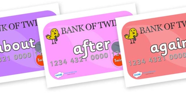 KS1 Keywords on Debit Cards - KS1, CLL, Communication language and literacy, Display, Key words, high frequency words, foundation stage literacy, DfES Letters and Sounds, Letters and Sounds, spelling