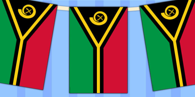 Vanuatu Flag Display Bunting - country, geography, commonwealth