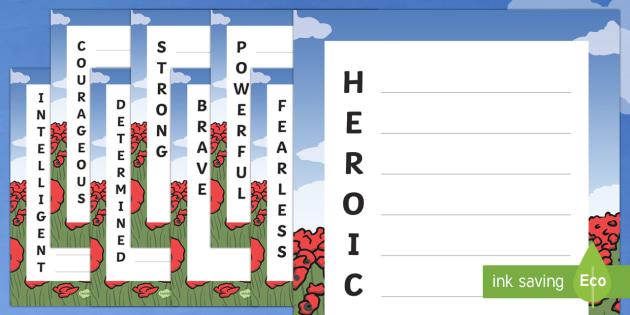 Heroic Qualities Acrostic Poem