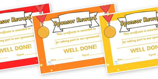 Sponsor Reward Certificates - sponser, reward, certificates, awards, reward certificates, behaviour management, classroom management, classroom rewards