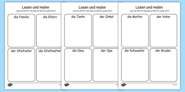 Die Familie Read and Draw Worksheet German - german, my family, read, draw, worksheet, activity