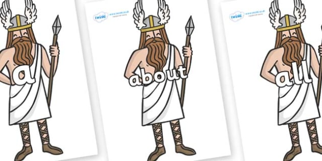 100 High Frequency Words on Viking Gods - High frequency words, hfw, DfES Letters and Sounds, Letters and Sounds, display words
