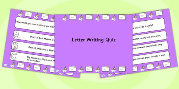 Letter Writing PowerPoint Quiz - letter, writing, powerpoint