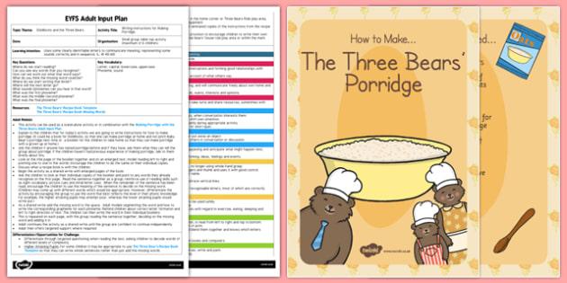 Writing Instructions Making Porridge Adult Input Plan Resource