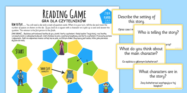 Reading Comprehension Board Game Polish Translation - polish, reading, comprehension, board game