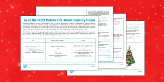 Twas the Night Before Christmas Sensory Poem - twas the night before christmas, sensory poem, poem, sensory