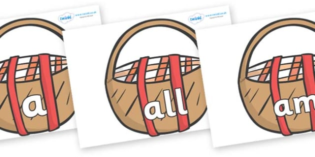 Foundation Stage 2 Keywords on Picnic Baskets to Support Teaching on The Lighthouse Keeper's Lunch - FS2, CLL, keywords, Communication language and literacy,  Display, Key words, high frequency words, foundation stage literacy, DfES Letters and Sound