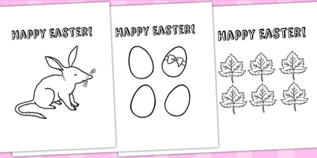 Easter Card Templates Colouring - easter, easter crafts, colour