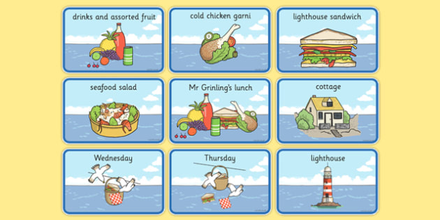 Story Sequencing (4 per A4) to Support Teaching on The Lighthouse Keeper's Lunch - The Lighthouse Keeper's Lunch, Ronda Armitage, Mr Grinling, Mrs Grinling, seagulls, seaside, lunch, Hamish, resources, sandwhich, story, story book, story book resourc