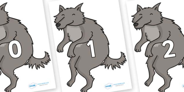 Numbers 0-100 on Wolf - 0-100, foundation stage numeracy, Number recognition, Number flashcards, counting, number frieze, Display numbers, number posters