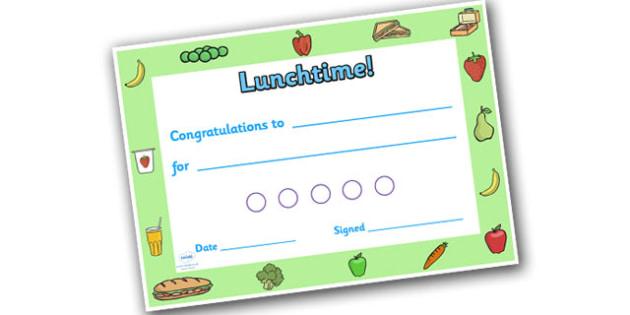 Lunchtime Themed Sticker Reward Certificate 15mm - lunchtime, lunchtime certificate, lunch certificate, lunchtime sticker certificate, lunchtime reward