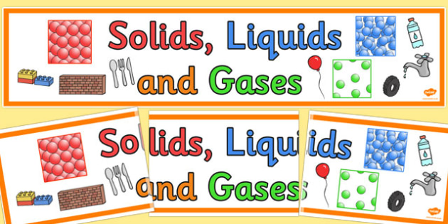 Solids Liquids and Gases Display Banner - States, mat, writing aid, word mats, liquid, gas, solid, ice, forces, movement, gravity, push, pull, Magnet, friction, science, knowledge and understanding of the world