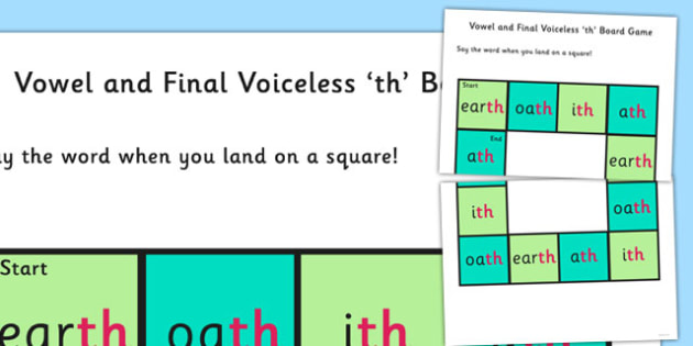 Vowel and Final Voiceless 'th' Sound Board Game - th sound, game