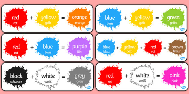 Colour Mixing Pack German Translation - german, Colour posters, Colouring mixing, mix, colour, display, poster, posters, black, white, red, green, blue, yellow, orange, purple, pink, brown