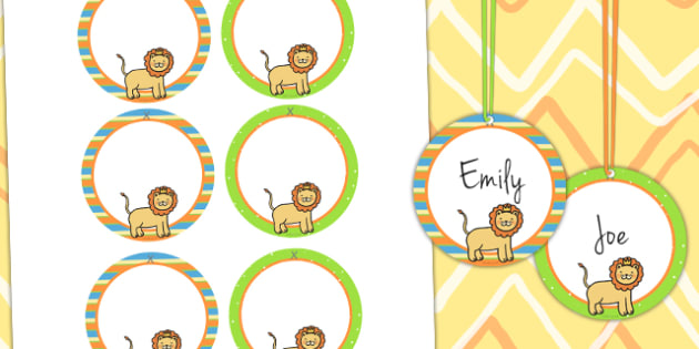 Jungle Themed Birthday Party Name Tags - jungle, party, birthday