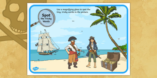 Phase 4 Tricky Words Pirate Ship Scene Magnifying Glass Activity Sheet, worksheet