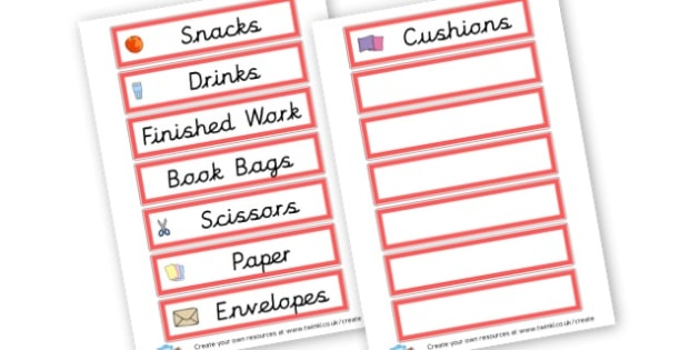 Resources - Drinks and Snacks - Resource Labels Primary Resources, resource, label, drawer labels