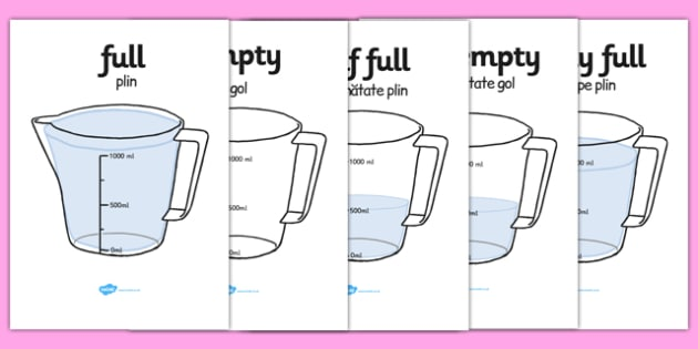 Capacity Display Posters Jug Romanian Translation - romanian, Capacity display posters, capacity, volume, litre, full, empty, half full, measure, jug, cup, water, display, poster, freize