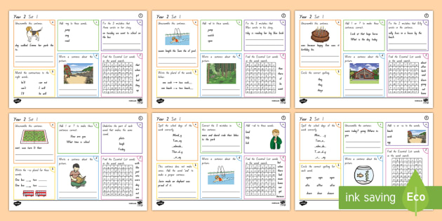 New Zealand Year 2 Spellling, Punctuation and Grammar Set 1 Activity Mats - Spelling, Grammar, punctuation, literacy, Year 2, New Zealand, NZ