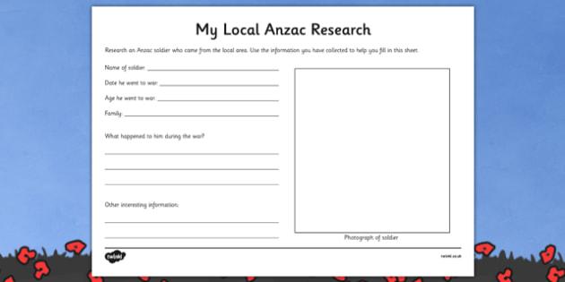 Local Anzac Research Worksheet - australia, Australian Curriculum, 3-4, Events, ANZAC Day AND Australian Curriculum,  5-6, Events, ANZAC Day