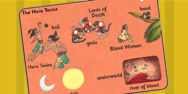 The Hero Twins Mayan Civilization Story Word Mat - ancient maya