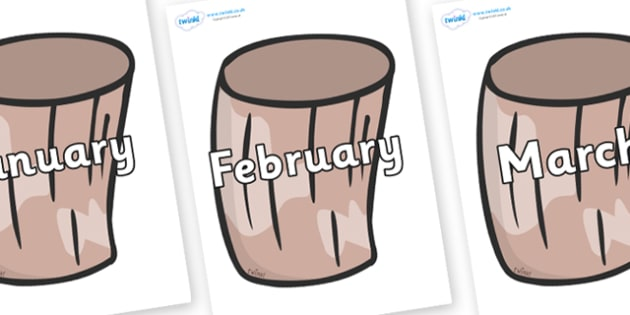 Months of the Year on Drums - Months of the Year, Months poster, Months display, display, poster, frieze, Months, month, January, February, March, April, May, June, July, August, September