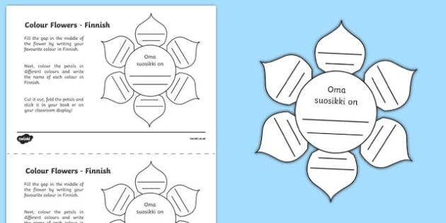 MFL Finnish Colour Flowers Activity Sheet, worksheet