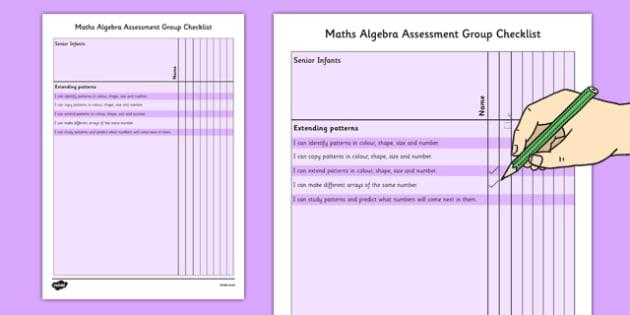 1999 Curriculum Senior Infants Maths Algebra Assessment Group Checklist - roi, irish, gaeilge, assessment checklist, maths, senior infants, algebra