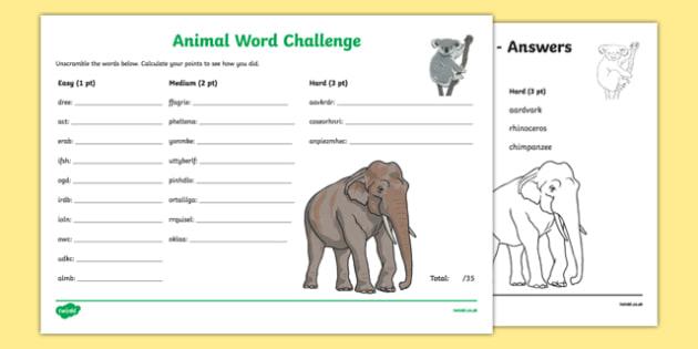 Animals scrambled Scrambled Word Challenge - animal, creature, jumbled, sort, order, writing, spelling, spell, activity,