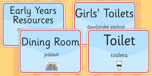 School Room Signs EAL Slovak Version - languages, signs, EAL