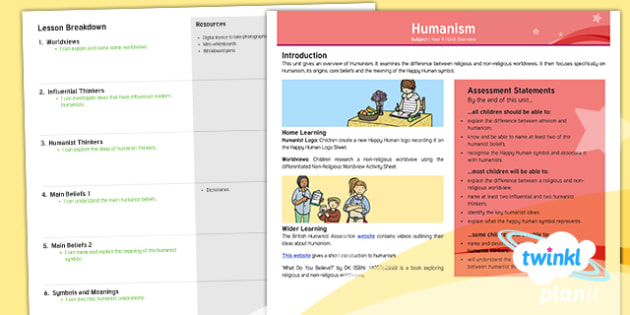 PlanIt - RE Year 4 - Humanism Planning Overview - Humanism, humanist, worldviews, religious, non-religious, influential thinkers, humanist thinkers, h
