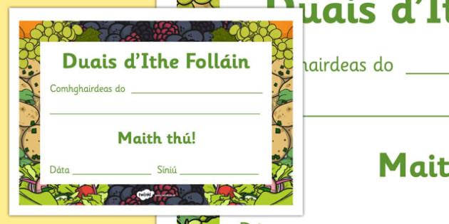 Healthy Eating Award Certificates Gaeilge - food, drink, eat, eating, health, pshe, repulic, ireland, roi, irish, languages, reward, achievement