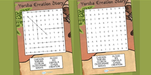 Kingdom of Benin: Yoruba Creation Story Differentiated Wordsearch