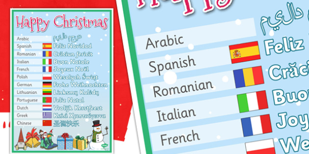 Mixed Language Happy Christmas Display Signs -  Happy Christmas sign, xmas, feliz navidad,feliz natal, buon natale, joyeux noel, frohe weihnachten, language, different languages
