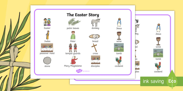 The Easter Story Word Mat - easter, SEN, sensory, PMLD, P Scales