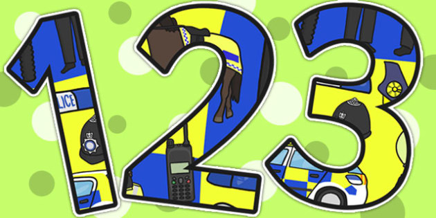 Police Themed Display Numbers - police, numbers, display numbers