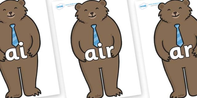Phase 3 Phonemes on Daddy Bear - Phonemes, phoneme, Phase 3, Phase three, Foundation, Literacy, Letters and Sounds, DfES, display