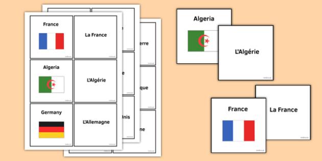 Les pays et les drapeaux Jeu de cartes - french, Les pays et les drapeaux Jeu de cartes