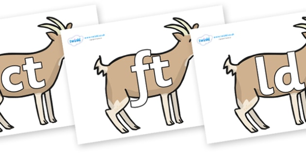 Final Letter Blends on Goats - Final Letters, final letter, letter blend, letter blends, consonant, consonants, digraph, trigraph, literacy, alphabet, letters, foundation stage literacy