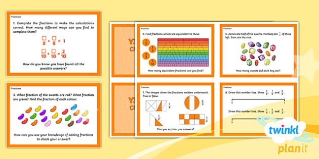 PlanIt Y3 Fractions Challenge Cards - Fractions, Challenge Cards, Challenge, Using and Applying, Problem Solving