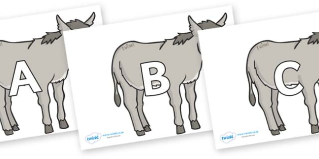 A-Z Alphabet on Donkeys - A-Z, A4, display, Alphabet frieze, Display letters, Letter posters, A-Z letters, Alphabet flashcards