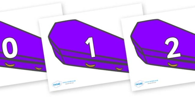 Numbers 0-100 on Coffins (Plain) - 0-100, foundation stage numeracy, Number recognition, Number flashcards, counting, number frieze, Display numbers, number posters