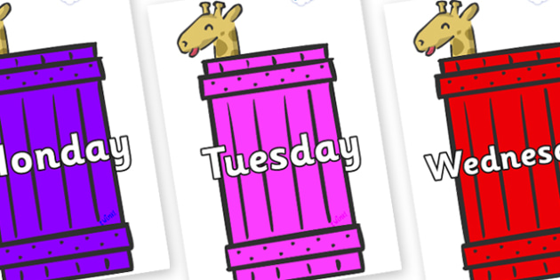 Days of the Week on Giraffes (Crate) to Support Teaching on Dear Zoo - Days of the Week, Weeks poster, week, display, poster, frieze, Days, Day, Monday, Tuesday, Wednesday, Thursday, Friday, Saturday, Sunday