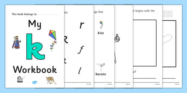 My Workbook k lowercase - workbook, k sound, lowercase, letters, alphabet, activity, handwriting, writing