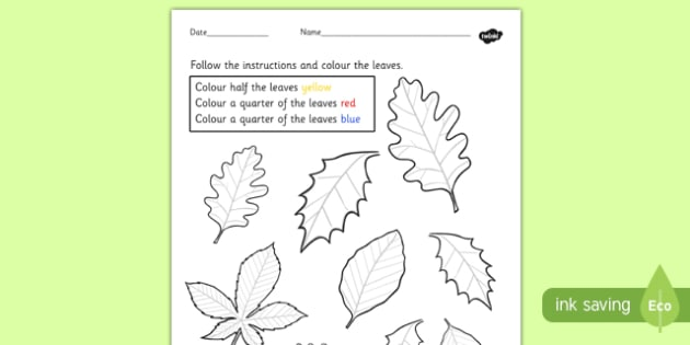Fractions Colouring Sheet Leaves - leaf, trees, colour, colours