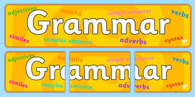 Grammar Display Banner - grammar, display banner, banner, display banner, display header, themed banner, themed header, header, banner for display