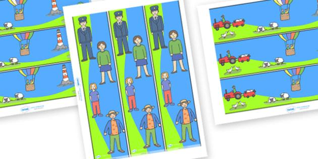 The Train Ride Display Borders - The Train Ride, June Crebbin, journey, transport, resources, rhyme, rhythm, tractor, story, story book, story book resources, story sequencing, story resources, Display border, classroom border, border,