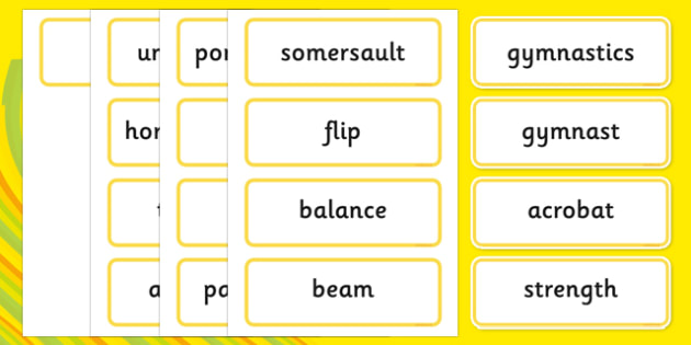 The Olympics Artistic Gymnastics Word Cards - Gymnastics, Olympics, Olympic Games, sports, Olympic, London, 2012, word card, flashcards, cards, activity, Olympic torch, events, flag, countries, medal, Olympic Rings, mascots, flame, compete