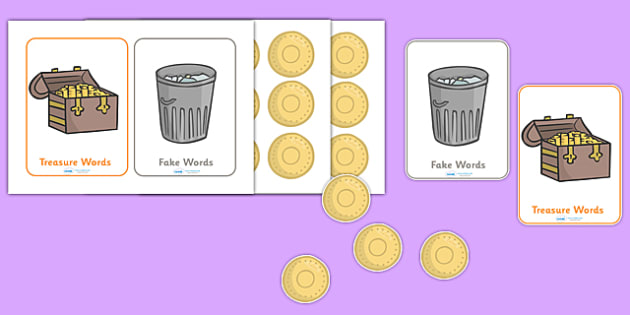 Editable Buried Treasure Phonics Game - Buried Treasure, Phase 2, activity, Phase two, blending for reading, nonsense words, DfES Letters and Sounds, Letters and sounds, Letter flashcards