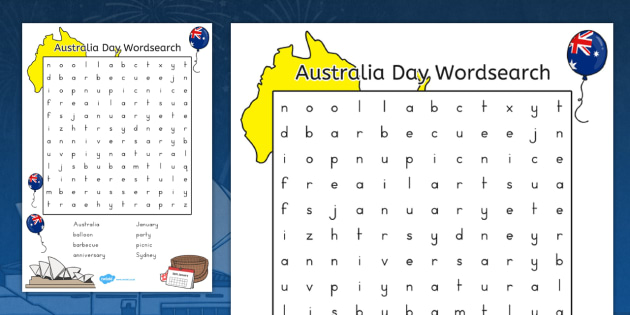 Australia Day Wordsearch Colour - australia, wordsearch, day